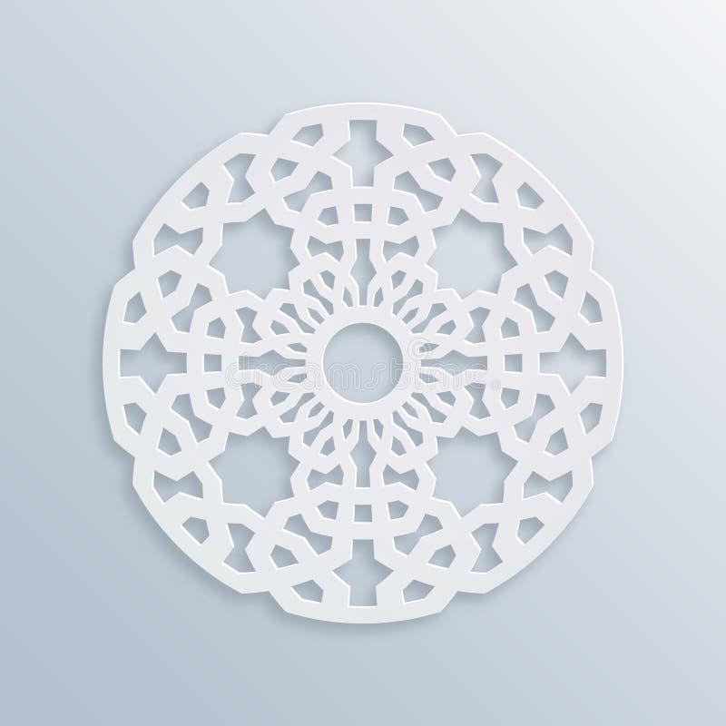 Reticolo geometrico islamico La geometria sacra Mosaico musulmano di vettore, motivo persiano Ornamento orientale bianco elegante illustrazione vettoriale