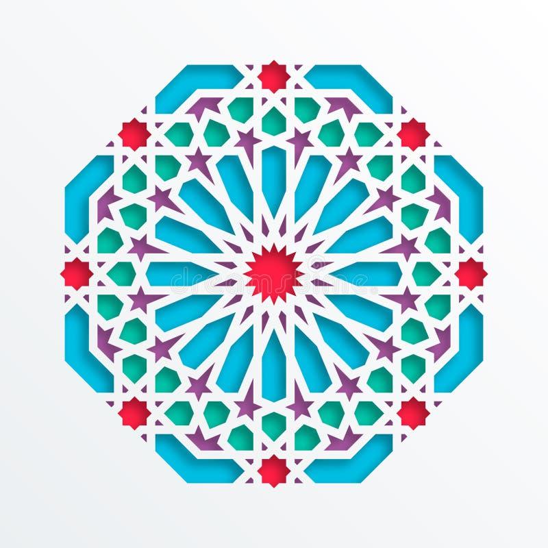 Reticolo geometrico islamico Mosaico musulmano di vettore 3D, motivo persiano Ornamento orientale elegante, arte araba tradiziona illustrazione vettoriale