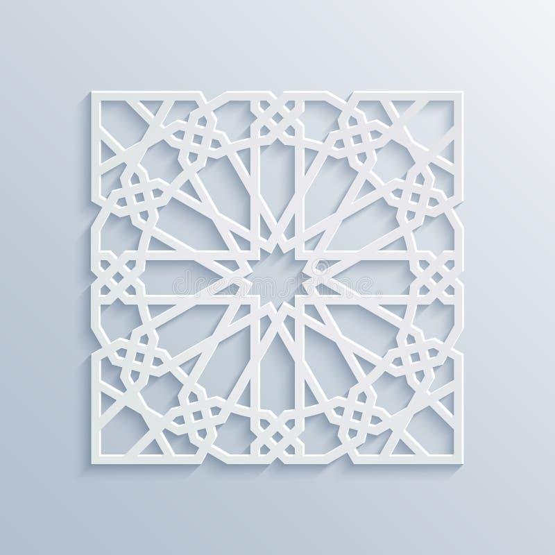 Reticolo geometrico islamico Mosaico musulmano di vettore, motivo persiano Ornamento orientale bianco elegante, arte araba tradiz illustrazione vettoriale
