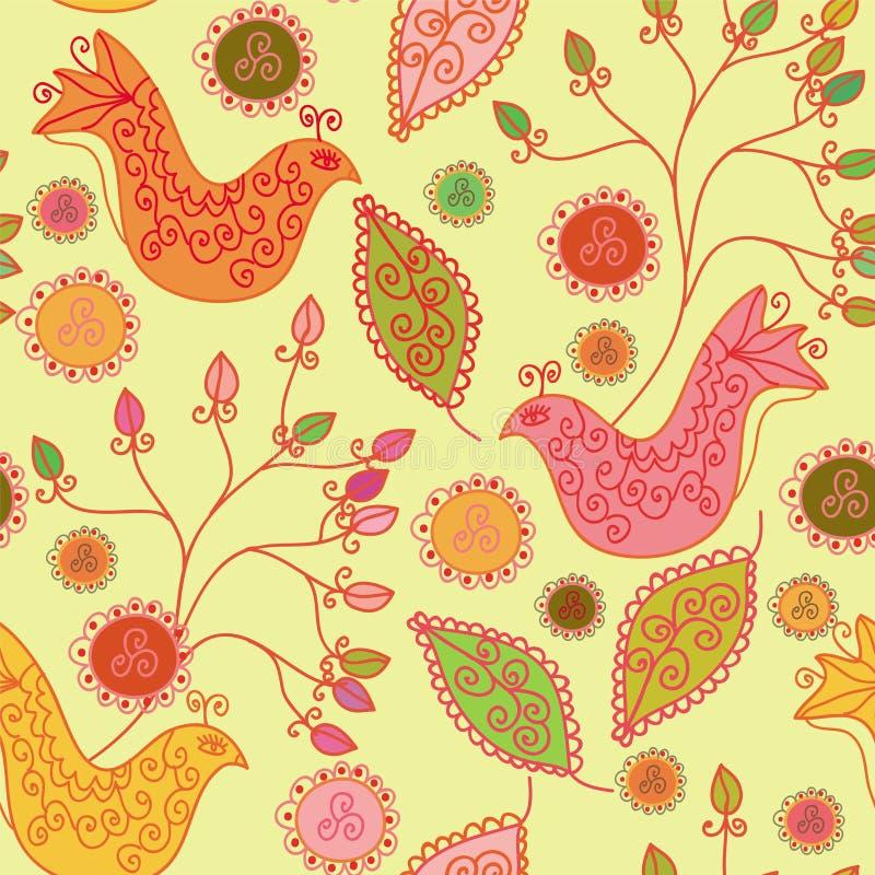 Reticolo luminoso senza giunte con gli uccelli etnici illustrazione di stock