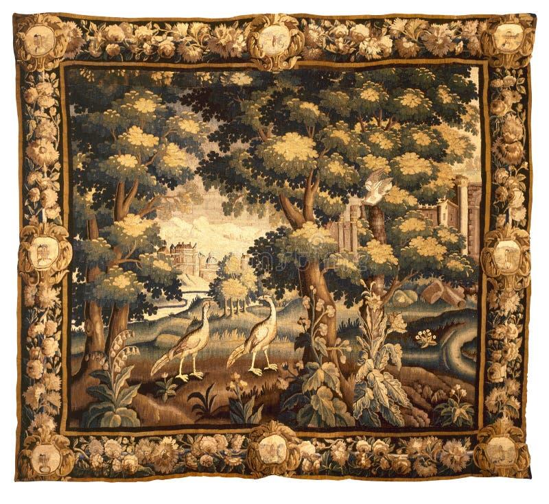 Reticolo medievale del tessuto della tappezzeria fotografia stock libera da diritti