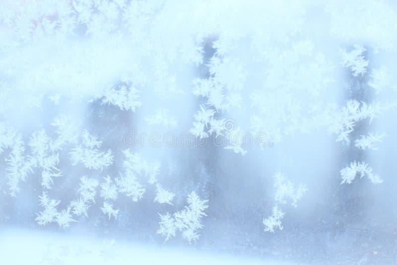 Reticolo naturale gelido sulla finestra di inverno fotografia stock libera da diritti