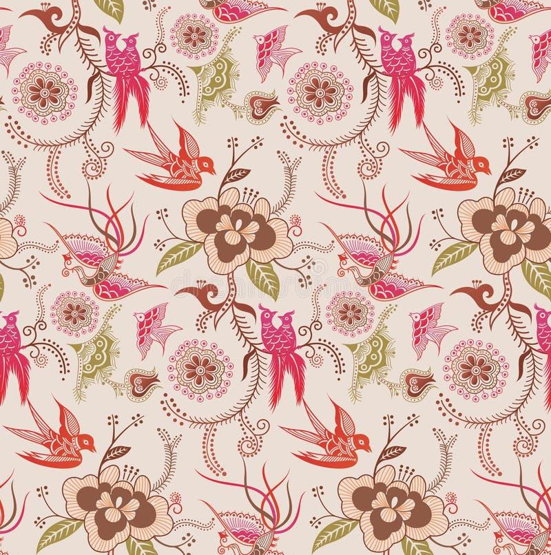 Reticolo orientale 3 dell'uccello e floreale royalty illustrazione gratis