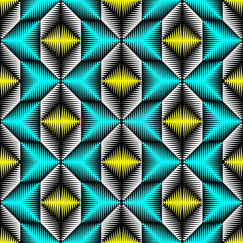 Reticolo orientale senza giunte Priorità bassa blu e gialla astratta illustrazione vettoriale
