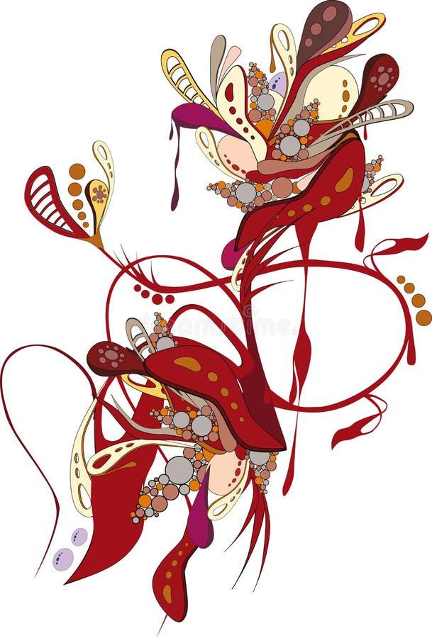 Reticolo rosso astratto con i fiori royalty illustrazione gratis