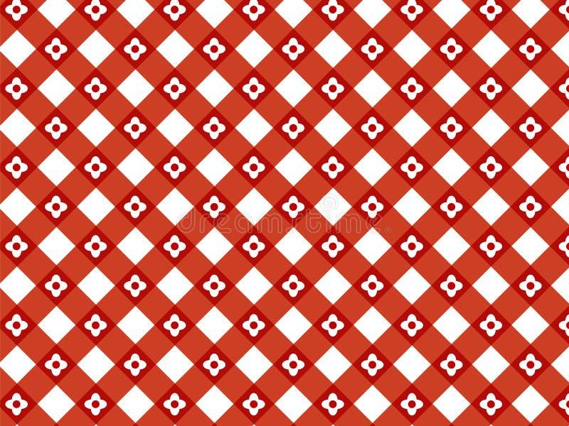 Reticolo rosso del plaid del retro fiore royalty illustrazione gratis