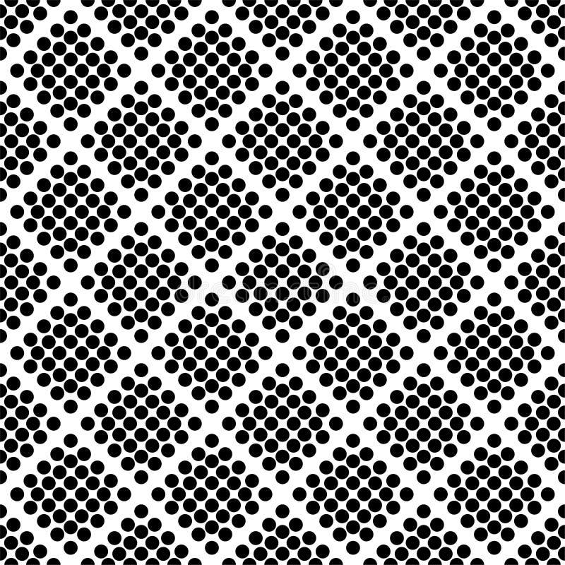 Reticolo senza cuciture astratto con i cerchi Struttura in bianco e nero moderna illustrazione vettoriale