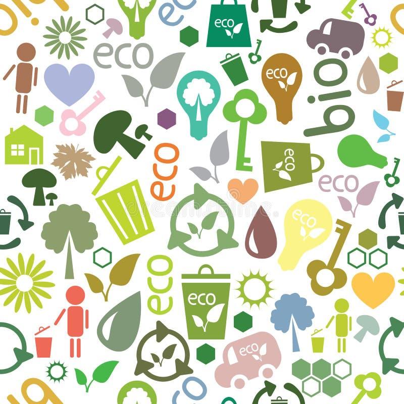 Reticolo senza cuciture colorato dei simboli ecologici royalty illustrazione gratis