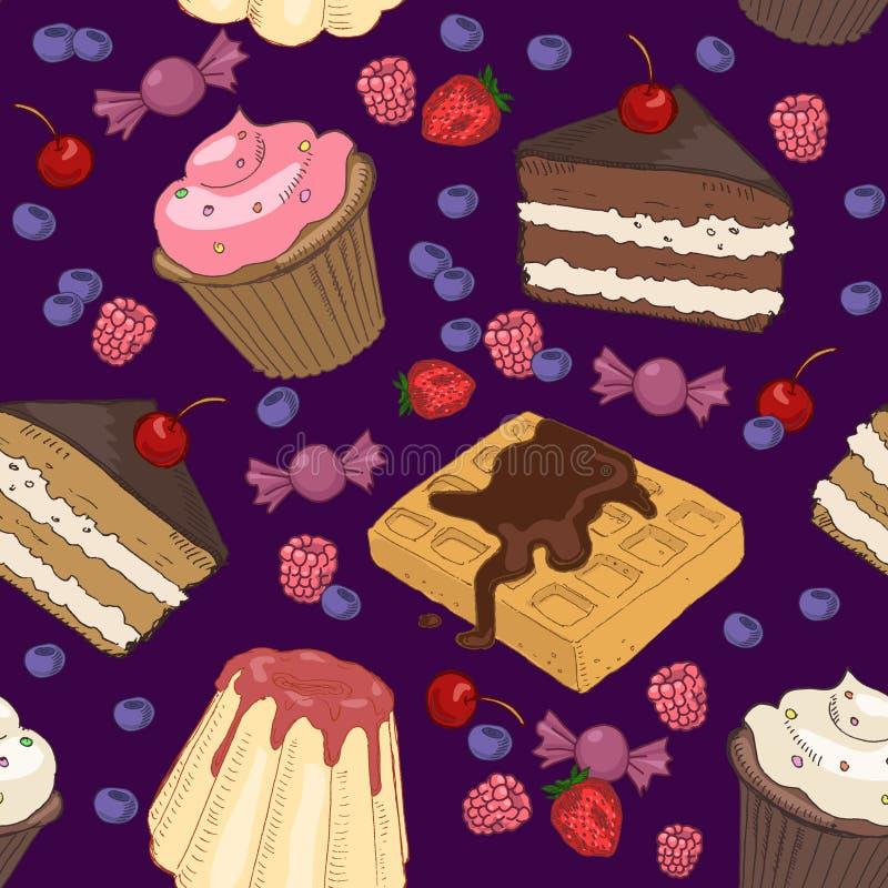Reticolo senza cuciture dei dolci royalty illustrazione gratis