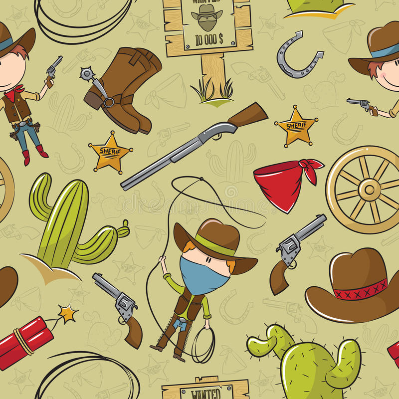 Reticolo senza cuciture del cowboy illustrazione vettoriale