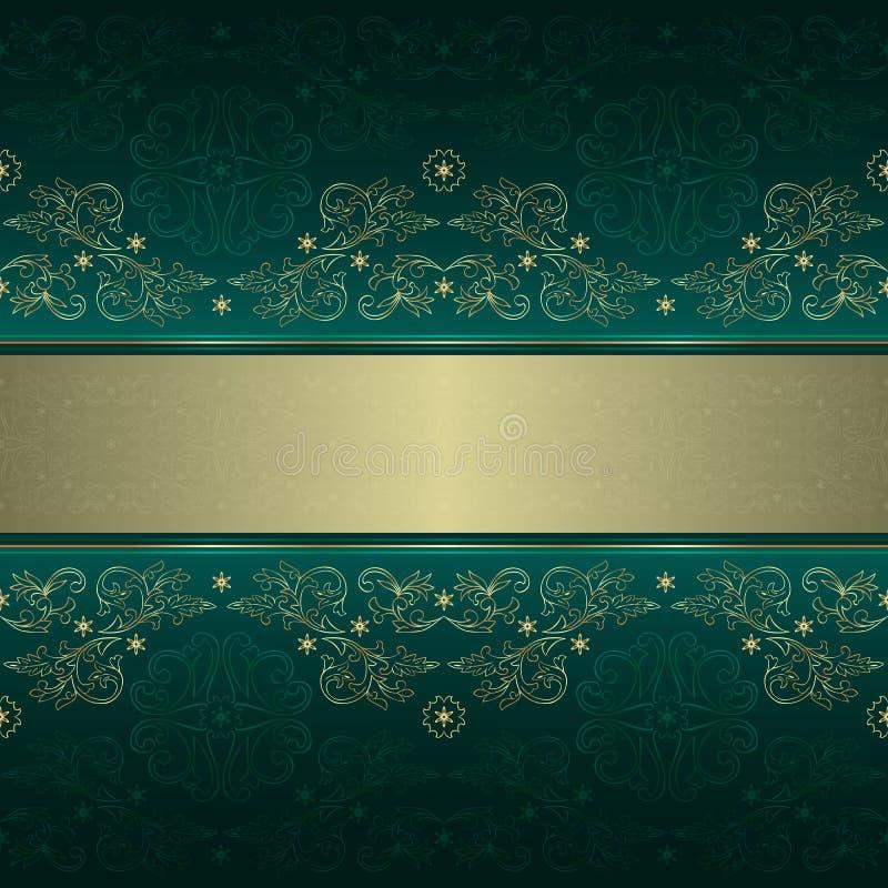 Reticolo senza cuciture dell'annata floreale dell'oro verde illustrazione vettoriale