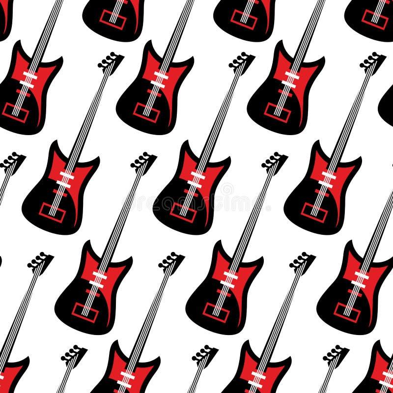 Reticolo senza cuciture della chitarra Chitarra elettrica che ripete fondo T illustrazione vettoriale