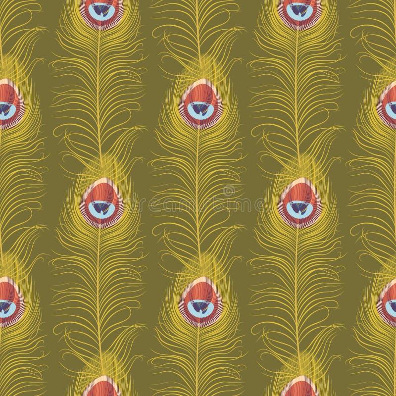 Reticolo senza cuciture della piuma del pavone illustrazione vettoriale