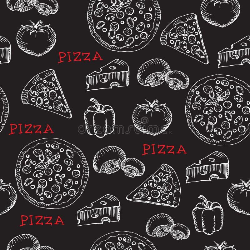Reticolo senza cuciture della pizza Retro disegno Illustrazione di vettore illustrazione vettoriale