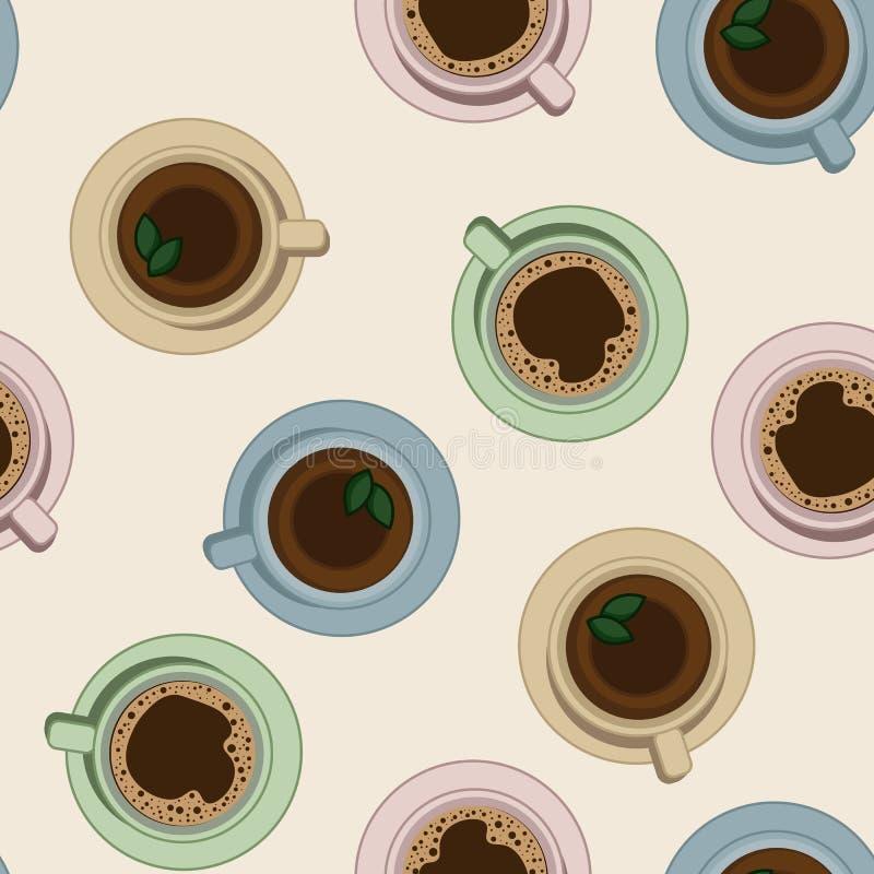 Reticolo senza cuciture delle tazze di caffè e del tè Illustrazione di vista superiore illustrazione di stock
