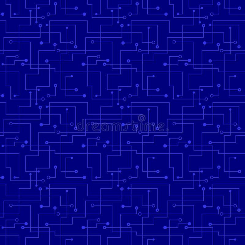 Reticolo senza cuciture di vettore - circuito blu elettronico   royalty illustrazione gratis
