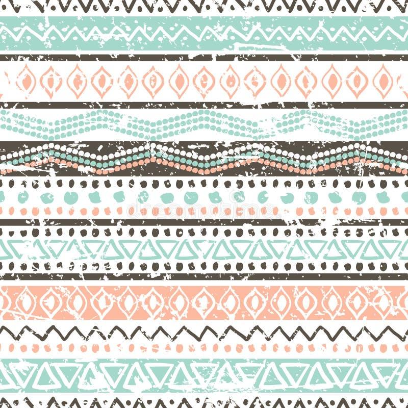 Reticolo senza cuciture etnico di vettore Orname a strisce tribale disegnato a mano royalty illustrazione gratis