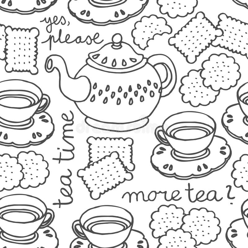 Reticolo senza cuciture monocromatico di tempo del tè illustrazione di stock