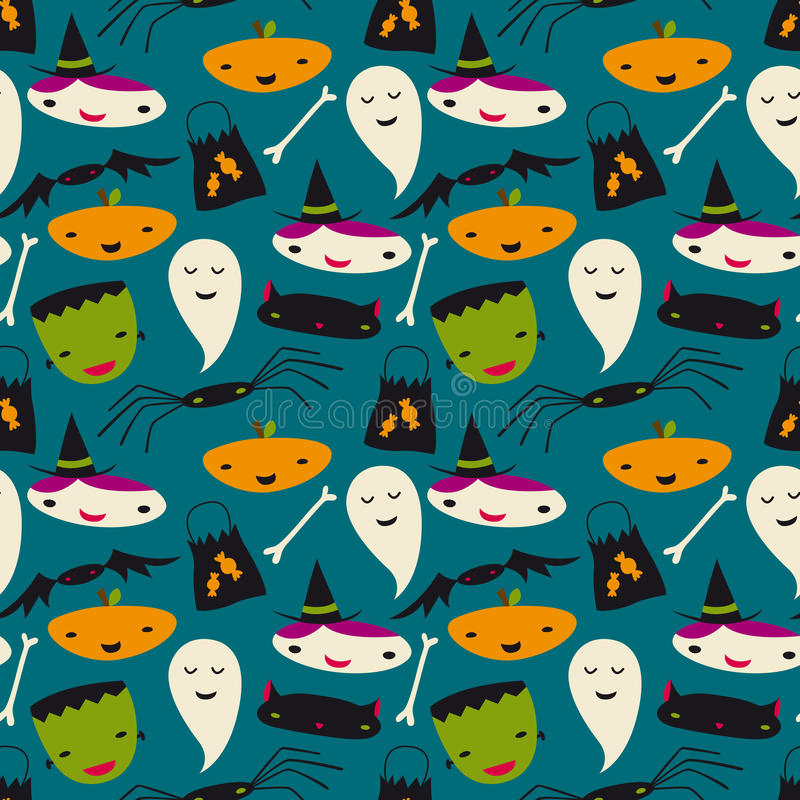 Reticolo senza cuciture sveglio di vettore di Halloween illustrazione di stock