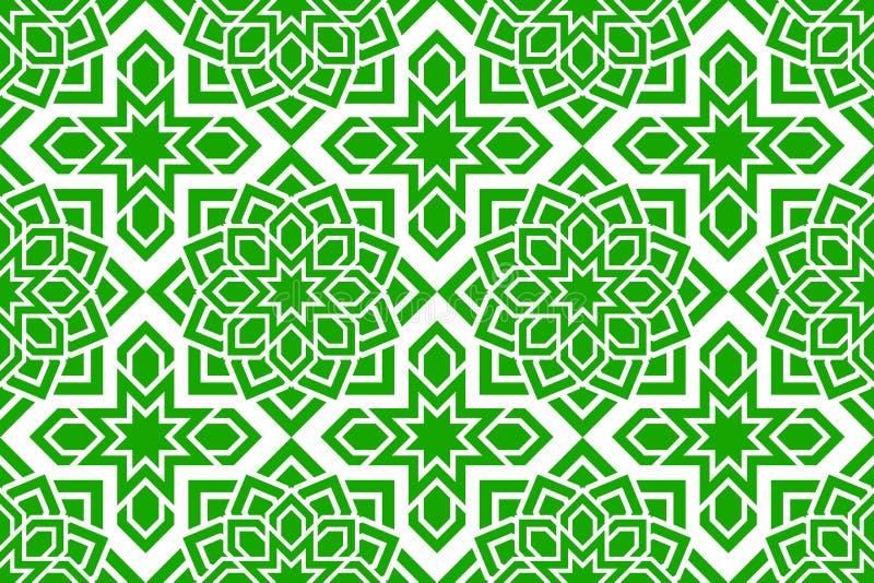 Reticolo senza giunte arabo Grean ha ripetuto il fondo Decorazione orientale tradizionale Progettazione decorativa islamica Estra royalty illustrazione gratis