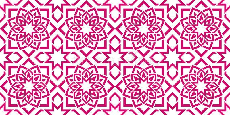 Reticolo senza giunte arabo Priorità bassa geometrica islamica Struttura orientale di vettore Fiorisce gli elementi della decoraz illustrazione vettoriale