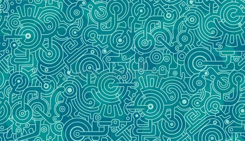 Reticolo senza giunte astratto Blu, turchese e bianco Bulloni, ingranaggi, poligoni royalty illustrazione gratis