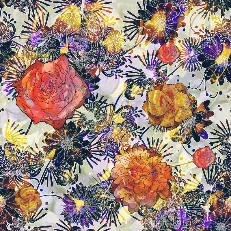 Reticolo senza giunte astratto con i fiori variopinti illustrazione vettoriale