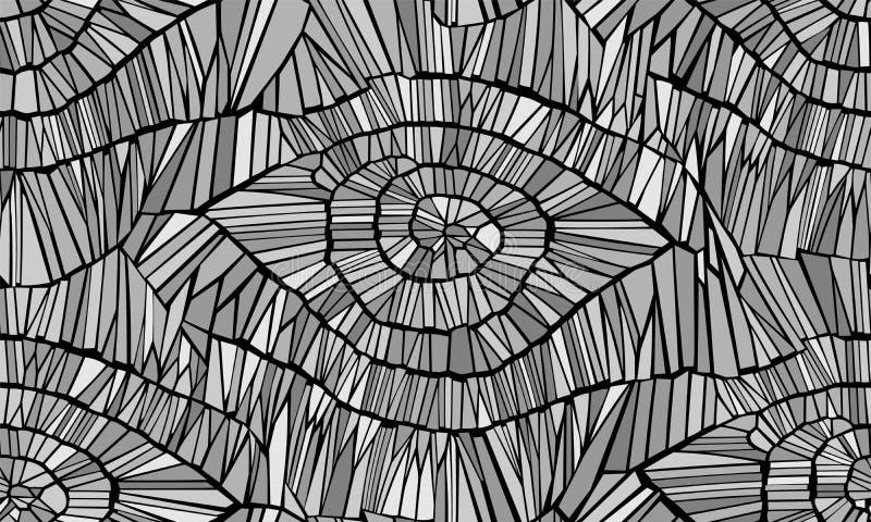 Reticolo senza giunte astratto di vettore Crepe, foglie, vene e legno Il nero e gray monocromatico Fondo isolato illustrazione vettoriale