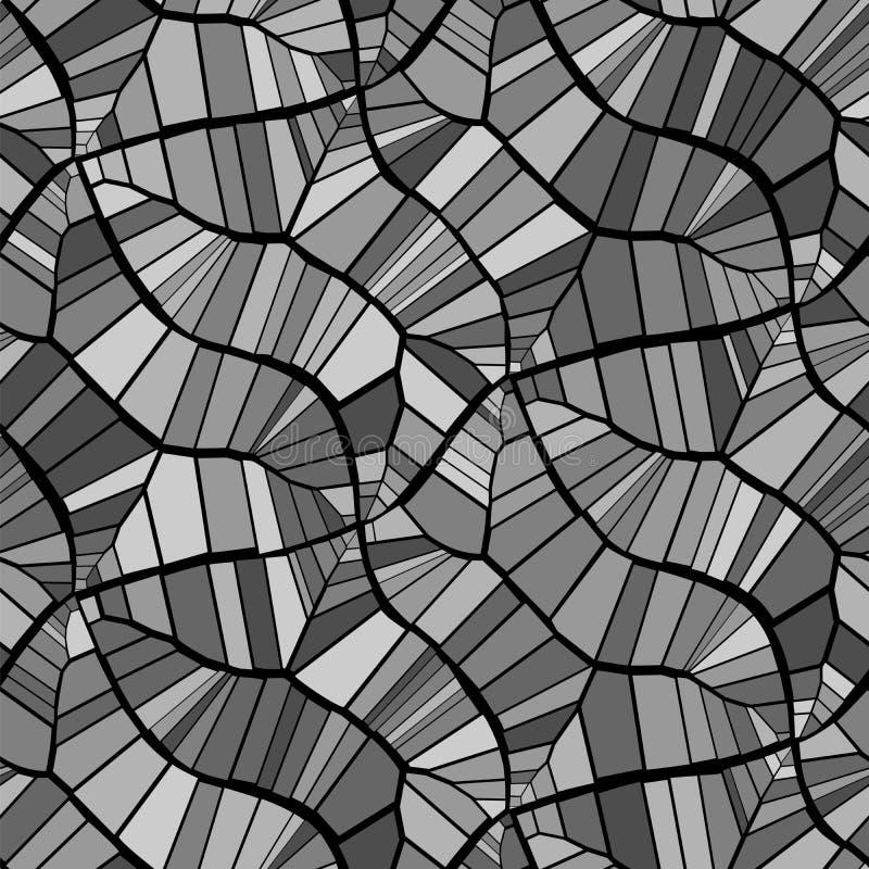 Reticolo senza giunte astratto di vettore Crepe, foglie, vene Il nero e gray monocromatico Fondo isolato royalty illustrazione gratis