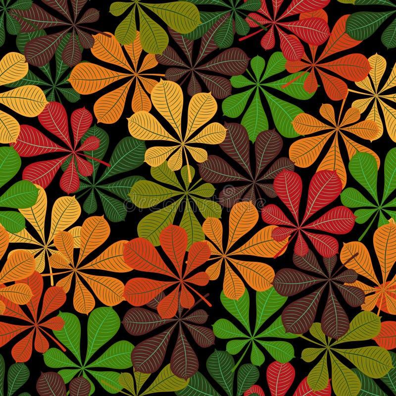 Reticolo senza giunte Autunno Foglie cadute multicolori di una castagna su un fondo nero illustrazione vettoriale