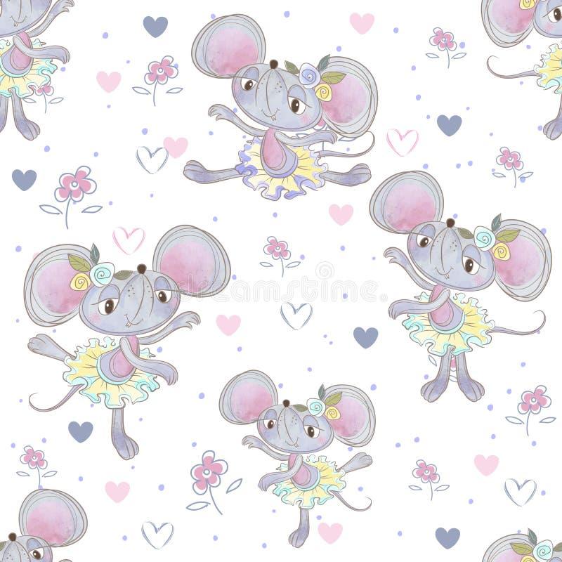 Reticolo senza giunte Ballerine divertenti del topo che ballano nel prato Vettore fotografia stock libera da diritti