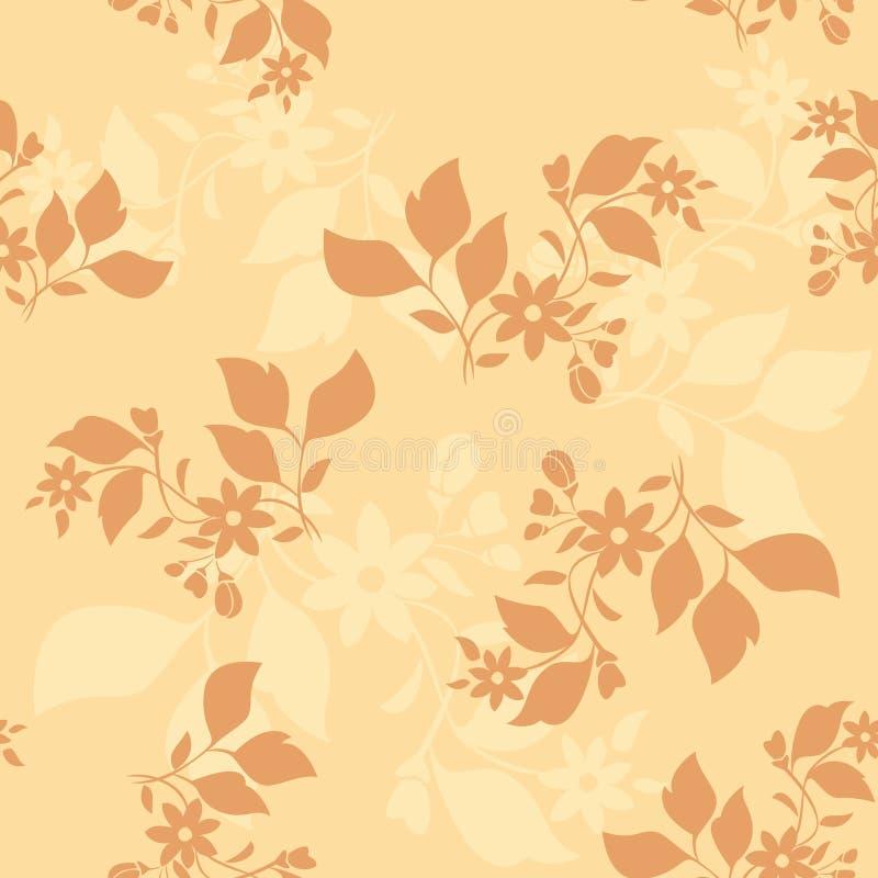 Reticolo senza giunte beige con le piante marroni illustrazione di stock