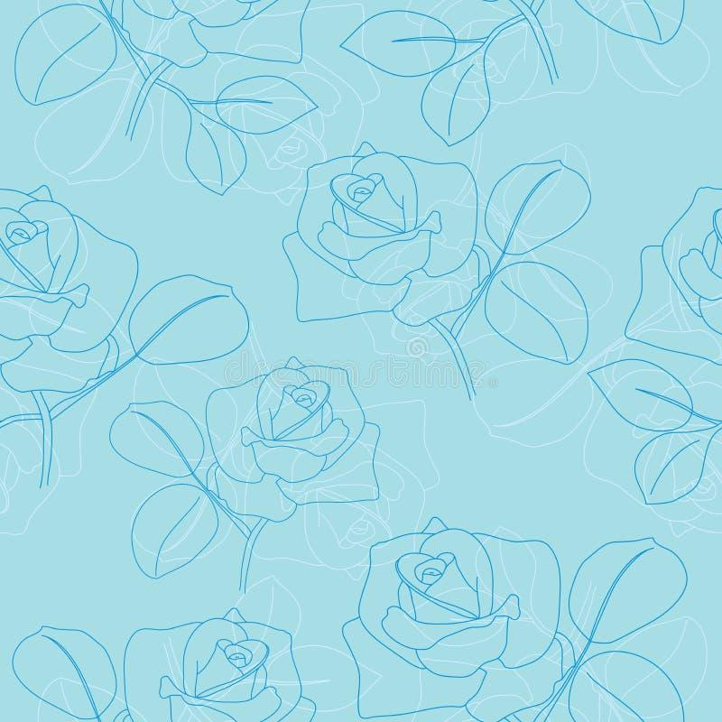 Reticolo senza giunte blu-chiaro con le rose royalty illustrazione gratis