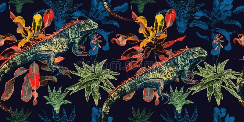 Reticolo senza giunte Cactus, ficus e iguana royalty illustrazione gratis