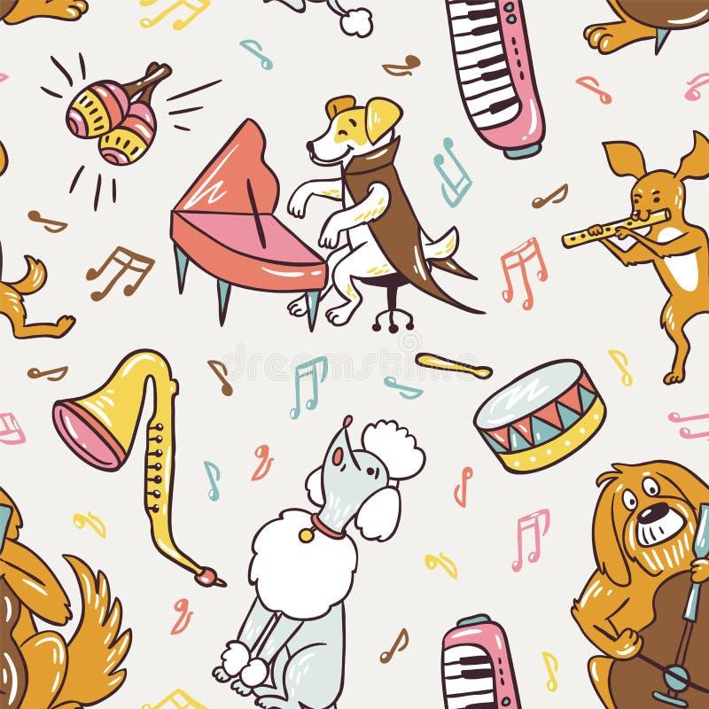 Reticolo senza giunte Cani musicali svegli del disegno a mano libera Illustrazione di vettore illustrazione vettoriale