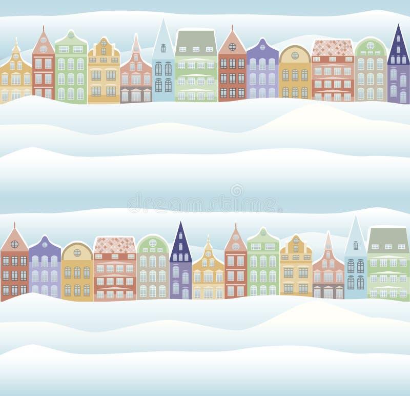 Reticolo senza giunte Carta di feste del nuovo anno e di Buon Natale con la città nevosa illustrazione di stock