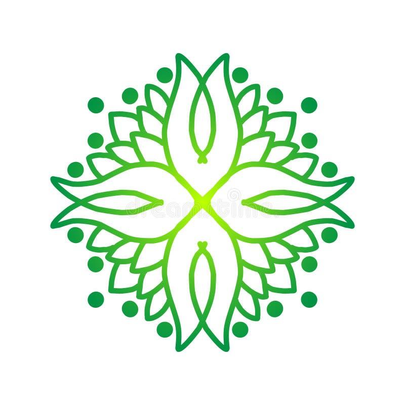 Reticolo senza giunte Cerchio della mandala L'albero rotondo lascia l'ornamento su fondo bianco illustrazione vettoriale