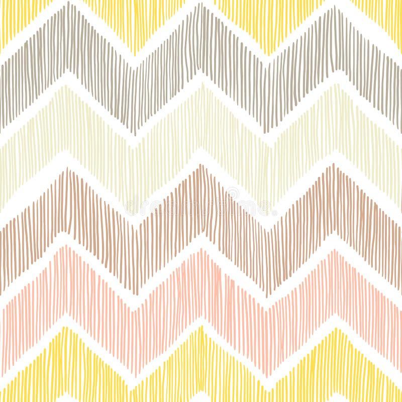 Reticolo senza giunte Chevron, un ornamento di zigzag Bianco, giallo, perno royalty illustrazione gratis