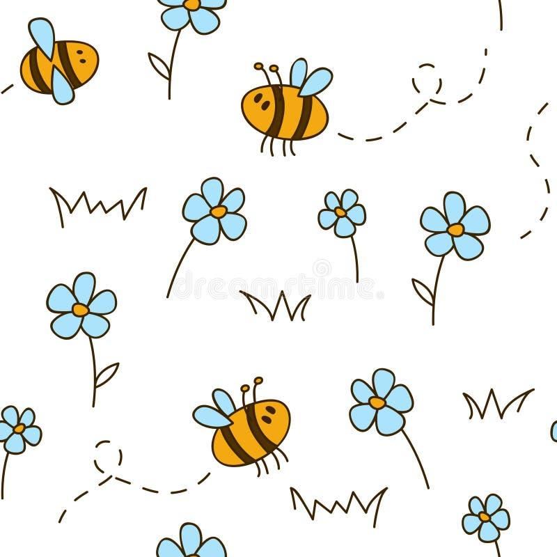 Reticolo senza giunte con gli api illustrazione di stock