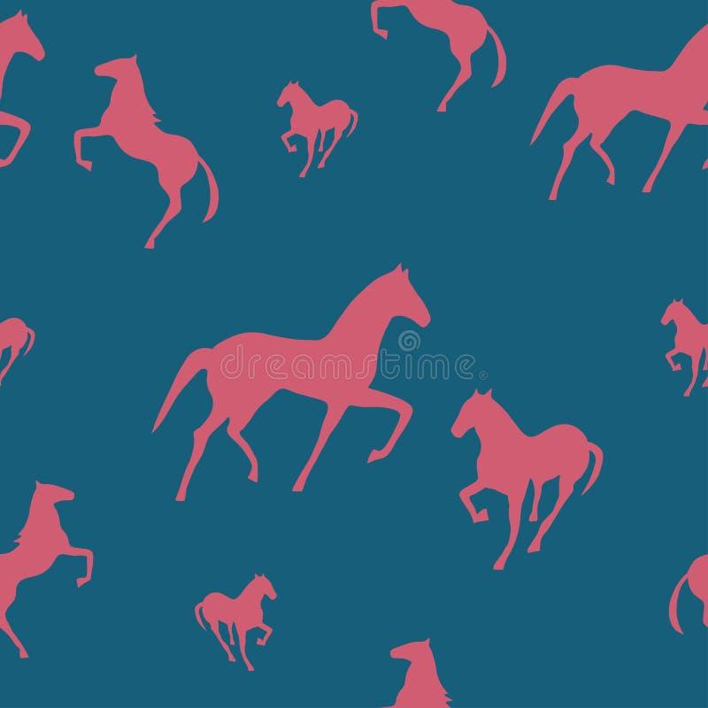Reticolo senza giunte con i cavalli illustrazione vettoriale