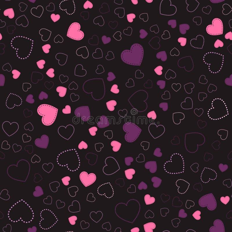 Reticolo senza giunte con i cuori Cuori rosa Reticolo romantico illustrazione vettoriale