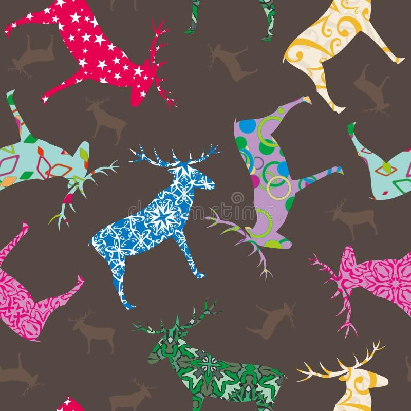 Reticolo senza giunte con i deers illustrazione di stock