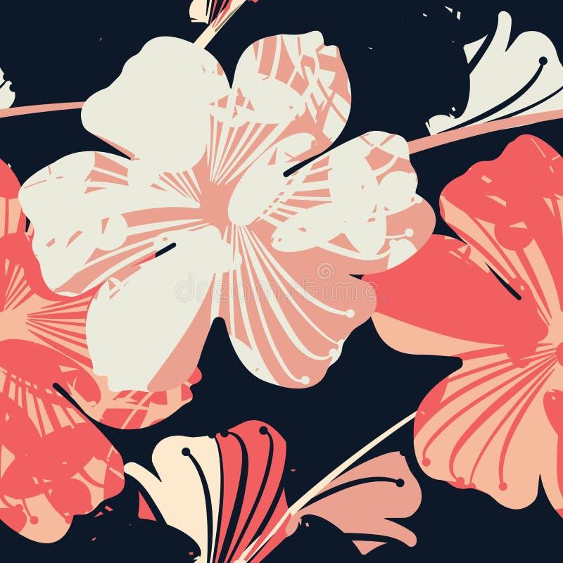 Reticolo senza giunte con i fiori eleganti illustrazione di stock