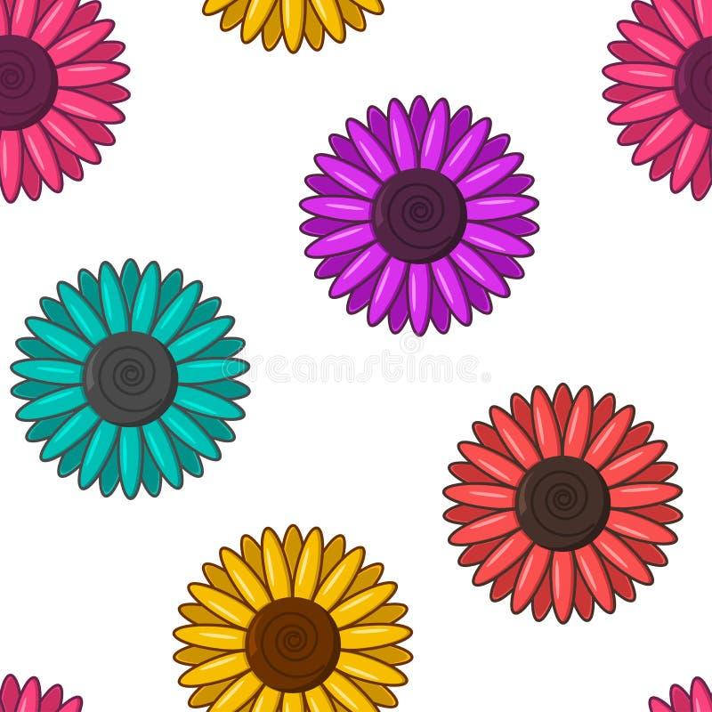 Reticolo senza giunte con i fiori variopinti Illustrazione di vettore illustrazione vettoriale