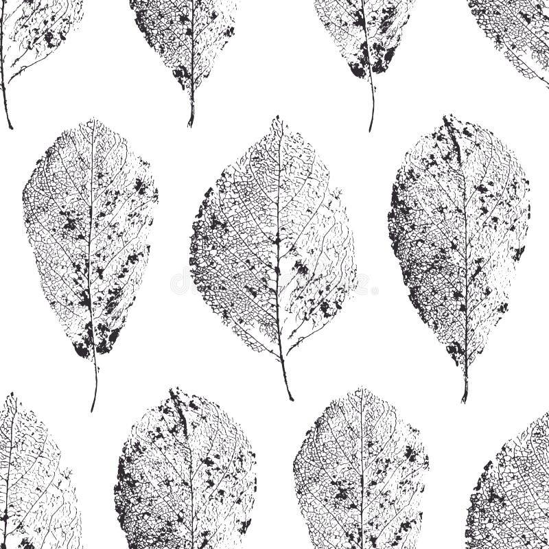 Reticolo senza giunte con i fogli Asciughi le foglie con le vene royalty illustrazione gratis