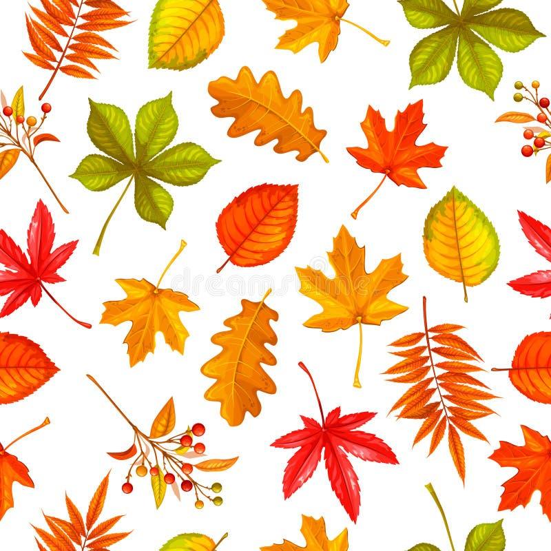 Reticolo senza giunte con i fogli di autunno illustrazione vettoriale
