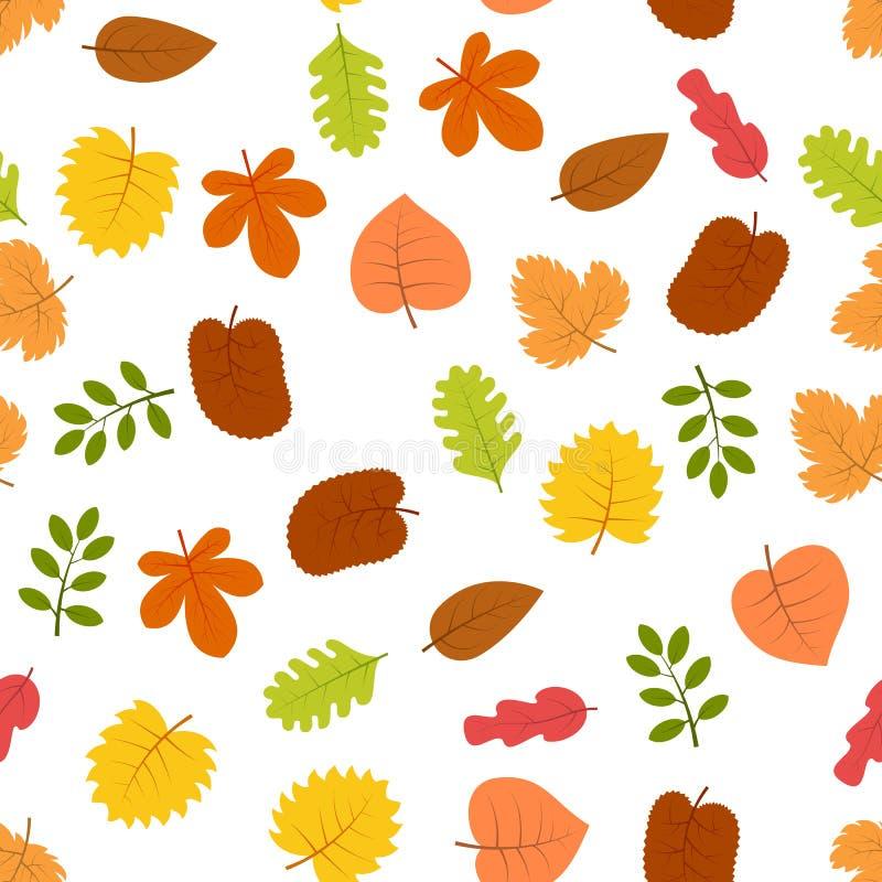 Reticolo senza giunte con i fogli di autunno illustrazione di stock