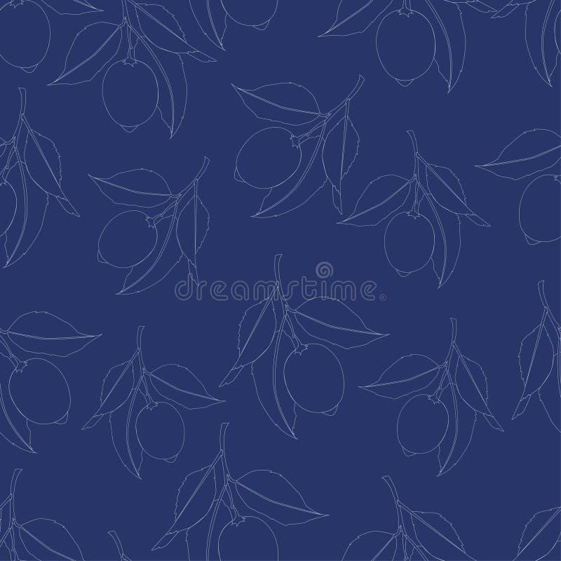 Reticolo senza giunte con i limoni Disegno a tratteggio isolato su fondo blu scuro Frutta fresca con le foglie Progettazione di e illustrazione di stock