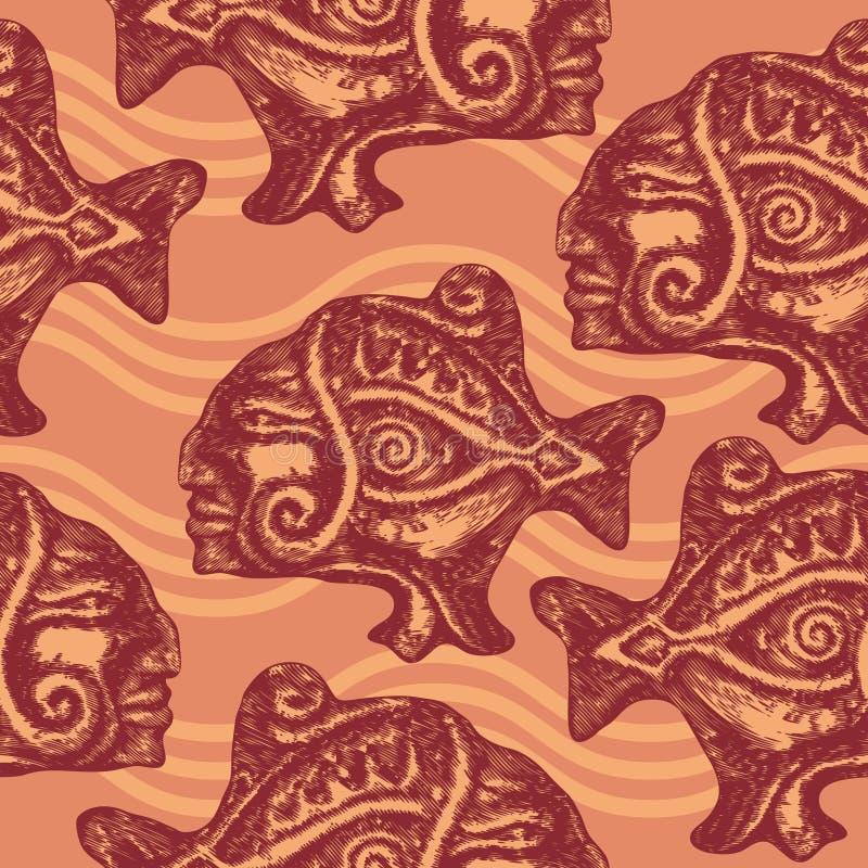 Reticolo senza giunte con i pesci aztechi illustrazione di stock