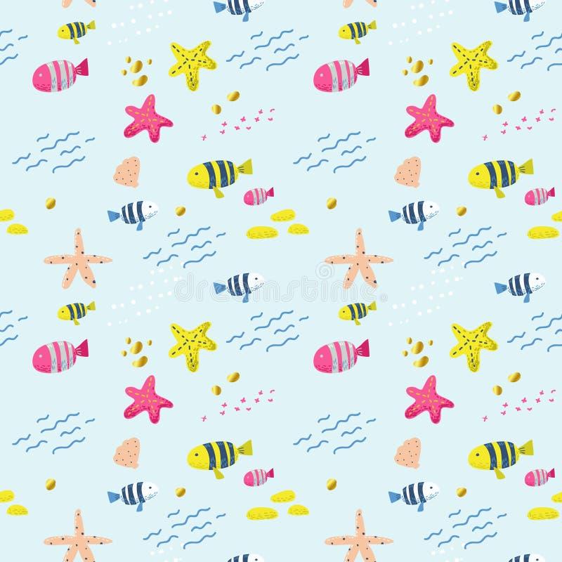 Reticolo senza giunte con i pesci Fondo puerile sveglio per tessuto, decorazione, carta da parati, carta da imballaggio Creature  illustrazione vettoriale